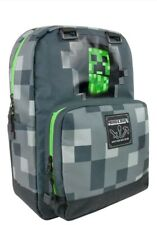 "MINECRAFT CREEPER 17"" GREY SCHOOL BACKPACK w/ Laptop Pocket  NEW 2018"