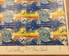 #1912-19 SHEET 18c Space Achievement stamp designer autograph Robert McCall thin