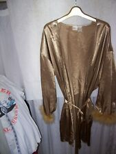 women's sz L gilligan o'malley Golden Age Hollywood robe w/ feathers trim 1940's