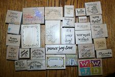 29 RUBBER STAMPS, STAMPIN' UP WOOD, THANK YOU HAND MADE BY BEST WISHES WWJD