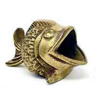 Vintage Solid Brass Lou Ehrlich Big Mouth Open Mouth Fish Ashtray Figurine