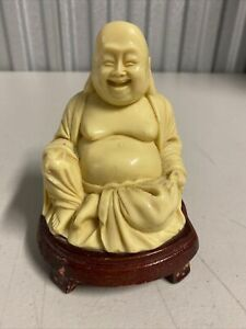 """Happy Smiling Seated Buddha Custom Carved Wood Stand 5"""" Tall Resin VGCondition"""