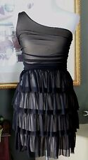 BACKLESS Brand Black/Nude Sheer Tiered Ruffled One Shoulder Fit & Flare Dress XS
