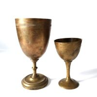 Lot 2 Antique Primitive Engraved Brass Wine Cups Goblets Egyptian Floral Glass
