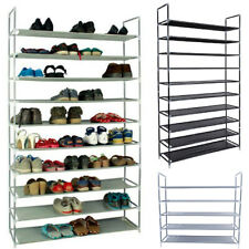 US 10 Tier 50 Pairs Shoe Rack Storage Organizer Tower Free Standing Space Saving