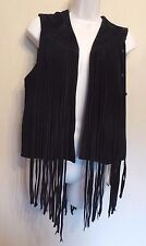 Topshop Uk10 Eu38 Us8 Black Suede (leather) Fringed Sleeveless Waistcoat