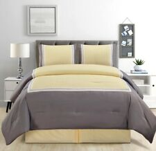 4Pc Full Sunshine Yellow Grey White Color Block Comforter Set Bed in A Bag