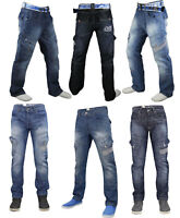 Crosshatch Mens Cargo Jeans Combat Regular Fit Denim Pants Trousers Sizes 30-40