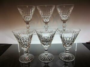 """Set of Six (6) WATERFORD Crystal TRAMORE 5 1/4"""" Claret Wine Glasses"""