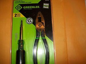 """GREENLEE 2-PC 9"""" HEAVY-DUTY SIDE-CUTTING PLIERS & 6-in-1 SCREWDRIVER  0159-42"""
