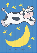 Crochet Patterns - COW JUMPED OVER THE MOON Baby afghan PATTERN