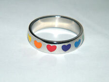 NEW! Heart Ring RAINBOW FRIENDSHIP RING Wedding Band Stainless Steel Size 8 NEW