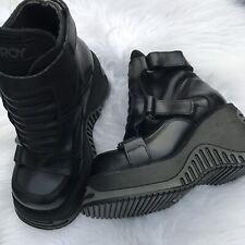 Vintage Destroy Black Boots 36 Punk Cyber Goth Rocker Club Festival