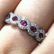 .25 Ct Oval Red Ruby Ring Women Wedding Jewelry Gift 14K White Gold Plated