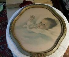 Vintage Bessie Pease Gutmann Awakening in Unique Oval Shaped Frame