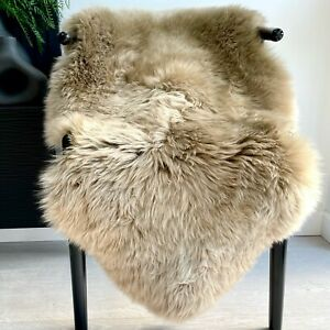Genuine Taupe Beige Real Sheepskin Rug Luxury British Throw Large 95cm+