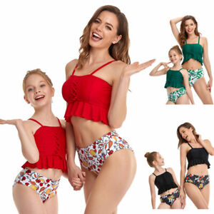Family Look Mother Daughter Floar Swimwear Bathing Beach Clothes Family Matching