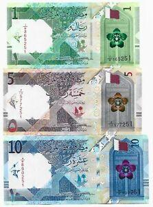Qatar 1, 5, 10 Riyals set 2020 UNC