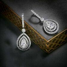 1.20 Ct Pear Cut Diamond Double Halo Dangle Earrings 14K White Gold Finish