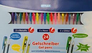 24 Stück Gelschreiber Stifte Gelstifte Schreibwaren Gel-Schreiber Neon Glitter