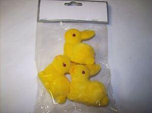 Mini (Yellow) Flocked Bunny Figures (Set of 3)