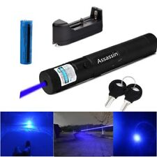 10Miles Blue Purple Laser Pointer 5MW 405nm Powerful Burning Beam+Batt+Charger
