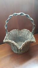 "Vintage Antique Primitive Hand Woven Wicker Basket 10"" x 12-1/2"", Scalloped Rim"