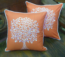 Cotton Cushion Covers Orange White Hand Made Tree Embroidery (pair) 40cm