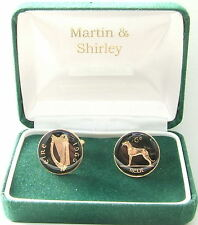 1966 IRELAND cufflinks from OLD IRISH sixpence coins Black Gold