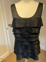 White House Black Market Designer Black Floaty Layered Evening Top Approx 12/14
