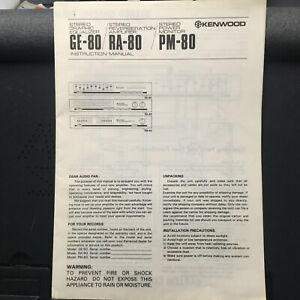 Kenwood Owner Manual for the GE-80 EQ RA-80 Amp PM-80 Power Monitor