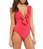 Michael Kors 6109 Womens Deep Pink Solid Ruffle One-Piece Swimsuit Size 6