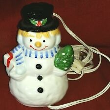 Lighted Snowman Bone China White Holiday Winter Figure 6in Wheeled Cord