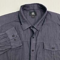 Rock & Republic Button Up Shirt Men's Size 2XL XXL Long Sleeve Gray Black Casual