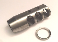 Stainless Steel 5/8x24 Thread 308 338 Competition Muzzle Brake,FREE Crush Washer