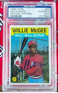 1988 Topps St. Louis Cardinals Willie McGee Autographed Card #707 PSA/DNA