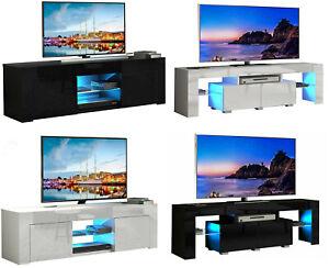 Modern 130/160 TV Unit Cabinet TV Stand - Matt Body & High Gloss Doors LED Light