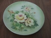 """Japan Lefton China Green w/ flowers 8 1/4"""" Collector Display Plate Vtg # SL5936"""