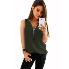 Summer Womens Casual V Neck Zipper Chiffon Tank Blouse Sleeveless Solid T Shirt