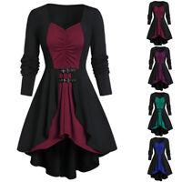 Women Retro Long Sleeve Patchwork Tunic Dresses Irregular Ruffles A Line Dress
