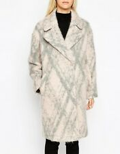 ASOS Pink / Gray Check Cocoon Fit Fluffy Texture Winter Coat Size 12 NWT
