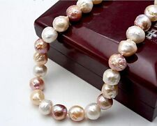 """HUGE 20""""13MM SOUTH SEA GENUINE WHITE GOLD PINK PURPLE NUCLEAR PEARL NECKLACE"""