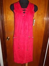 INC International Concepts Sleeveless Faux Suede Moleskin Tank Lace Up Dress M