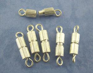 Lot Of 16 Clasps Screw Screw Screw Clasp 0 19/32in Silver Dark Beads Jewelry