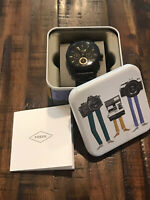 Fossil Men's Watch Black Stainless Steele Quartz With Collectible Tin