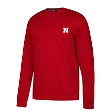 Nebraska Cornhuskers NCAA Adidas Men's Red Sideline Pullover Crew Fleece