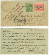 Feb 1945 Tonga WWII Tin Can Mail postcard from Quensell to Crocker censored