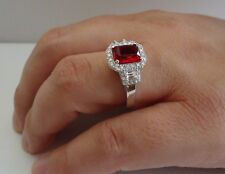 925 STERLING SILVER LADIES RING W/ 4.50 CT LAB DIAMOND& RUBY /SIZE 5 TO 9