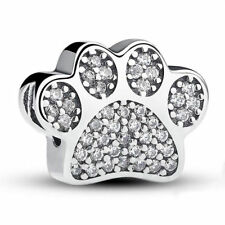 Silver Dog paw CZ Spacer Loose Bead Fit European Charm Bracelet