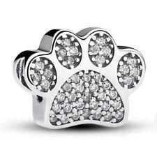 Silver Dog paw CZ Spacer Loose Bead Fit European Charm Bracelet